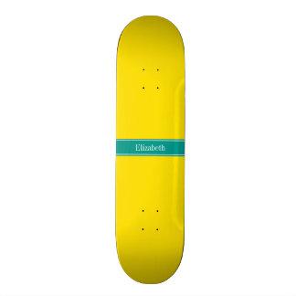 Solid Yellow, Dark Teal Ribbon Name Monogram Custom Skate Board