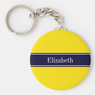 Solid Yellow, Navy Blue Ribbon Name Monogram Basic Round Button Key Ring