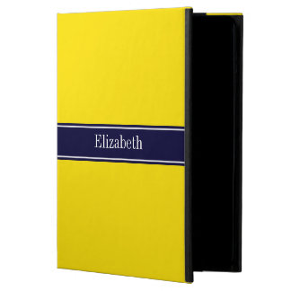 Solid Yellow, Navy Blue Ribbon Name Monogram Cover For iPad Air