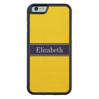 Solid Yellow, Navy Blue Ribbon Name Monogram Maple iPhone 6 Bumper Case