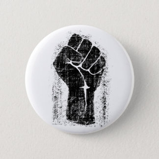Solidarity Fist Grunge Distressed Style 6 Cm Round Badge