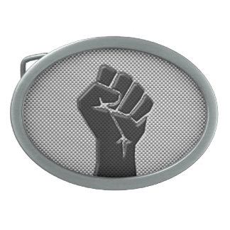 Solidarity Fist in Carbon Fiber Style Oval Belt Buckles