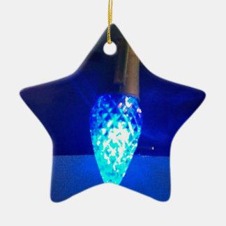 Solitary Bright Blue Christmas Light Ceramic Star Decoration