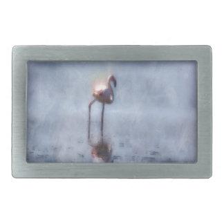 Solitary Flamingo Watercolor Belt Buckle