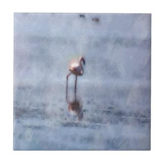 Solitary Flamingo Watercolor Ceramic Tile