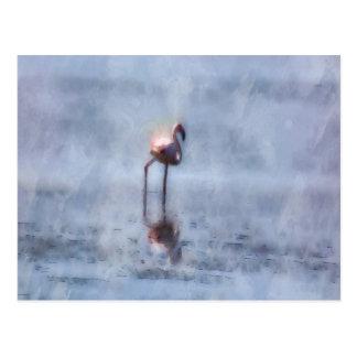 Solitary Flamingo Watercolor Postcard