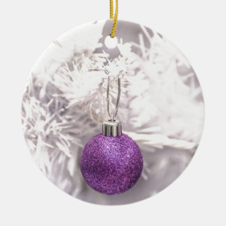 Solitary Purple Christmas Ball Round Ceramic Decoration