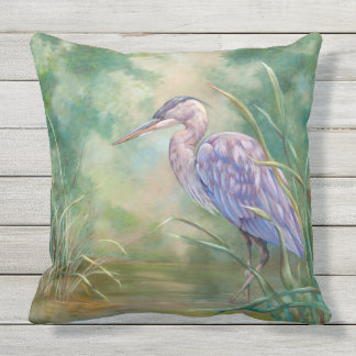 """""""Solitude"""" - Blue Heron Pastel Painting Outdoor Cushion"""