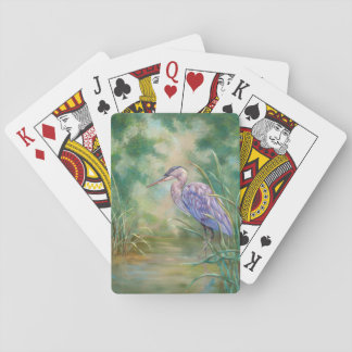 """""""Solitude"""" - Blue Heron Pastel Painting Playing Cards"""