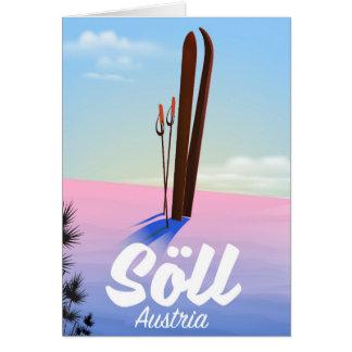 Söll, Austria Ski travel poster Card