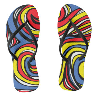 """""""Solley"""" Adult Flip Flops Yellow Red Blue"""