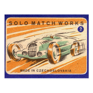 Solo Match Works Vintage Car Label Postcard