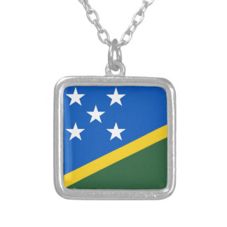 Solomon Islands Flag Silver Plated Necklace