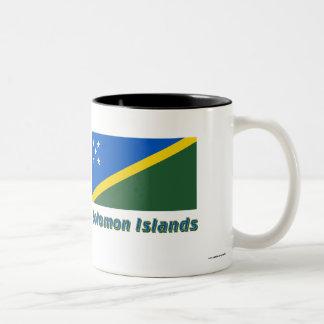 Solomon Islands Flag with Name Two-Tone Coffee Mug
