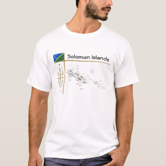 Solomon Islands Map + Flag + Title T-Shirt