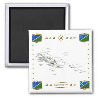Solomon Islands Map + Flags Magnet