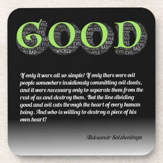 Solzhenitsyn Line Between Good and Evil Quote Coaster