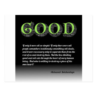 Solzhenitsyn Line Between Good and Evil Quote Postcard