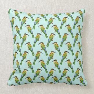 Somali Bee-eater Vintage Bird Pattern Throw Pillow