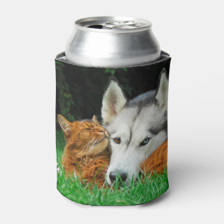 Somali cat and Siberian Husky cute friends Bawdle Can Cooler