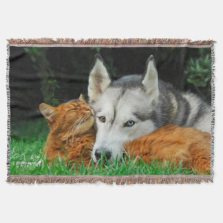 Somali cat and Siberian Husky cute friends huddle Throw Blanket