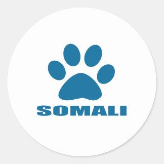 SOMALI CAT DESIGNS CLASSIC ROUND STICKER