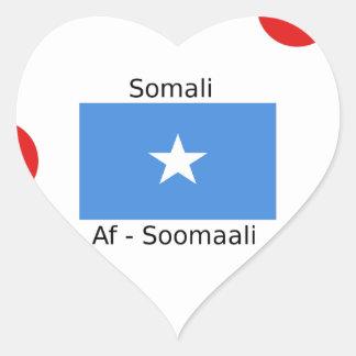 Somali Language And Somalia Flag Design Heart Sticker