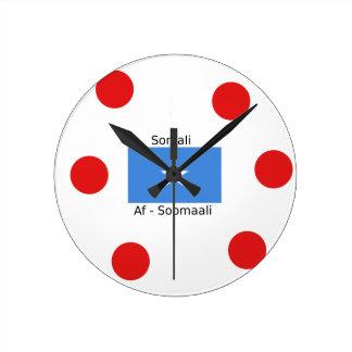 Somali Language And Somalia Flag Design Round Clock