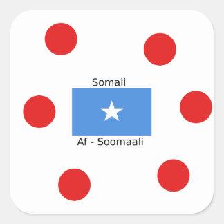 Somali Language And Somalia Flag Design Square Sticker