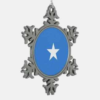 Somalia Flag Snowflake Pewter Christmas Ornament