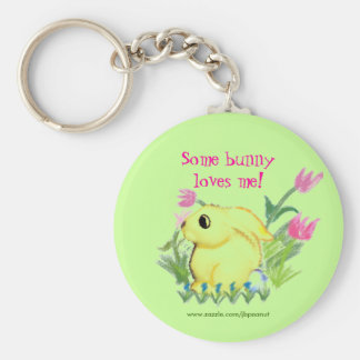 Some bunny loves me! basic round button key ring