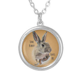 Some Bunny Loves Me Collection Rabbit Easter Round Pendant Necklace