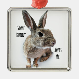 Some Bunny Loves Me Collection Rabbit Easter Silver-Colored Square Decoration