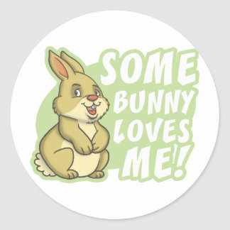Some Bunny Loves Me Easter Round Sticker