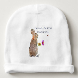 Some-bunny loves you. Nature-rabbit Baby Beanie