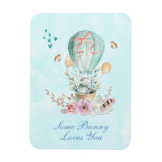 Some Bunny Loves You Vintage Bunny in a Balloon Magnet