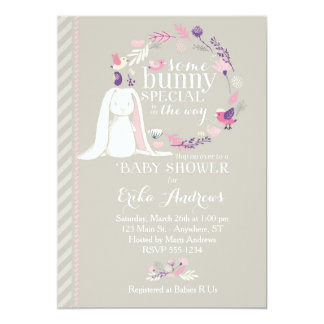 Some Bunny Special Baby Shower Invitation (grey)