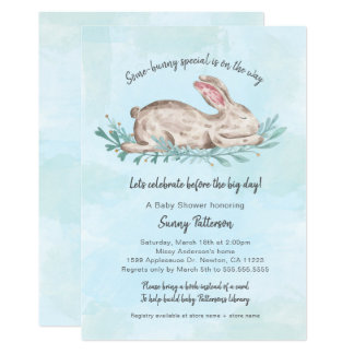 Some-bunny special book baby shower for boy card