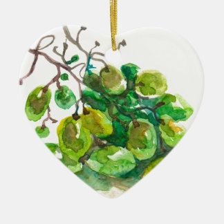Some grapes ceramic heart decoration