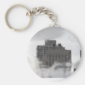 Some NY Building trought water Basic Round Button Key Ring