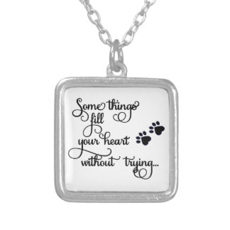 Some Things Fill My Heart... PawPrints Silver Plated Necklace