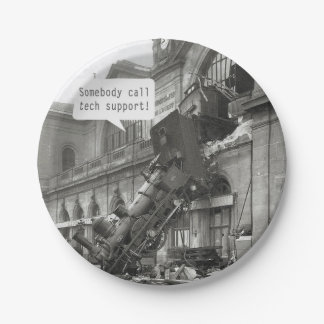 Somebody Call Tech Support Train Wreck Paper Plate