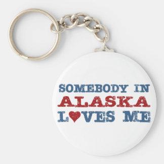 Somebody In Alaska Loves Me Basic Round Button Key Ring