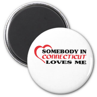 Somebody in Connecticut Loves Me shirts 6 Cm Round Magnet