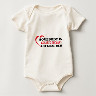 Somebody in Greater Sudbury loves me Baby Bodysuit