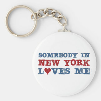 Somebody in New York Loves Me Basic Round Button Key Ring