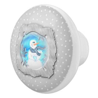Somebody Loves You Emotional Snowman Ceramic Knob