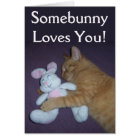 Somebunny Loves You Cat Easter Card