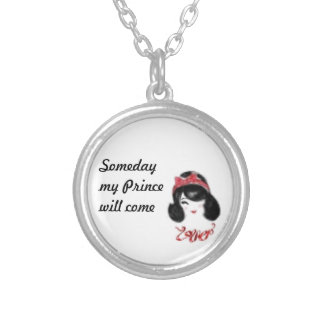 Someday my prince will come round pendant necklace