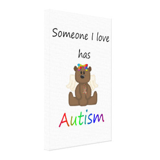 Someone I love has autism (girl bear) Canvas Prints